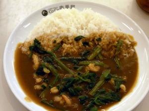 煮虾仁咖喱饭+菠菜