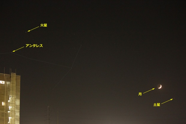 Antares, Mars, Moon & Saturn
